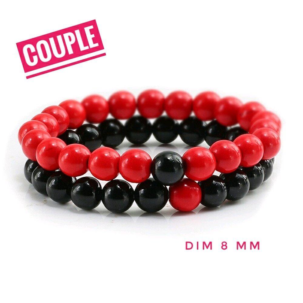 Gelang Couple Natural Batu Black Onix Dan Red Marjan Tampil Serasi
