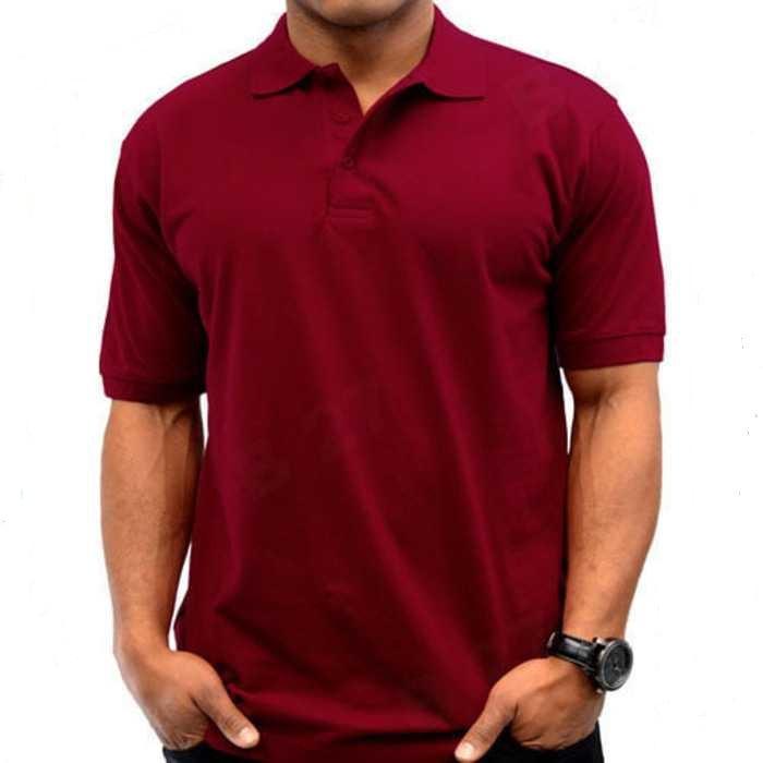 Polos Shirt Polos M L XL Lengan Pendek Kaos Kerah Pakaian Berkerah Atasan Pria Wanita Cewek Cowok Lacos Pique Lacost Fashion Simple Keren Simpel Formal Casual Korean Bagus Murah(Maron))