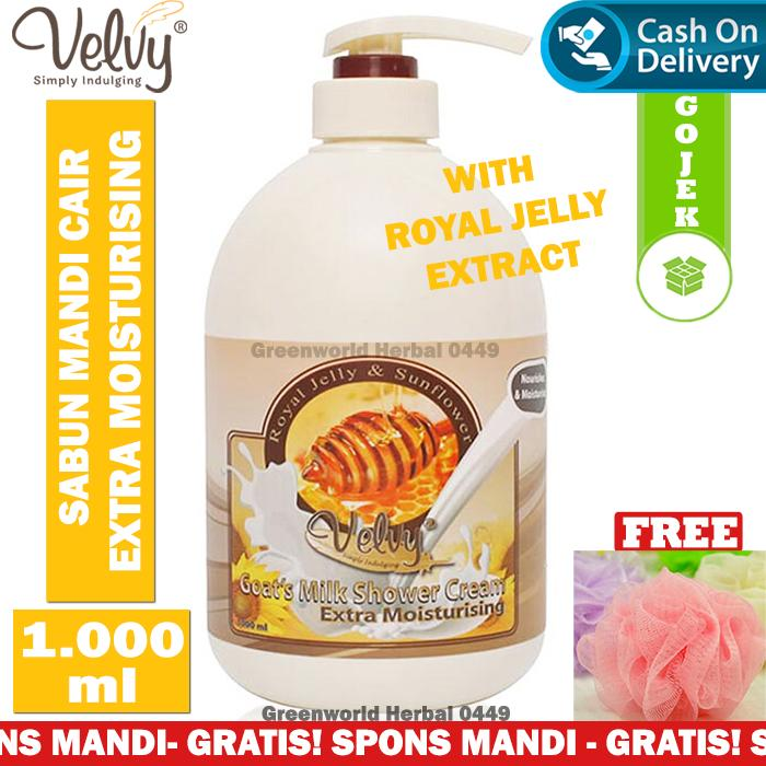Velvy - Extra Moisturising Shower Cream - Original - Scent Honey - Sabun Pemutih Badan - Sabun Mandi Cair - 1000 ml