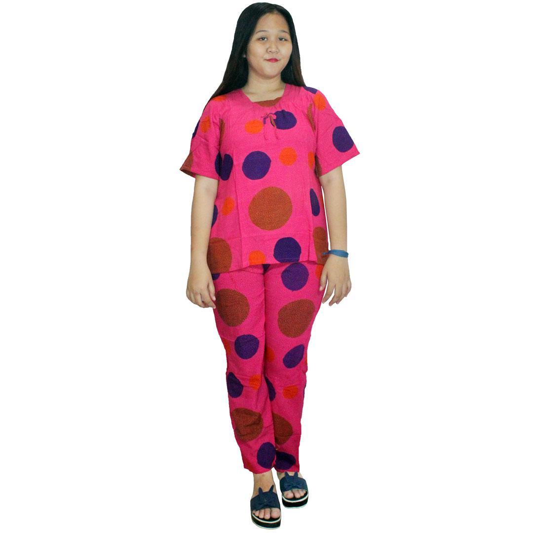 Setelan Celana Kulot Panjang Berlengan Pendek Batik Cap Halus, Baju Tidur, Piyama, Leher Kerut (RST001-02) Batik Alhadi
