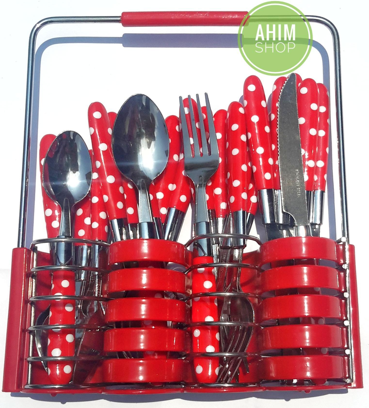 Ahim Shop 24 pcs Cutlery Set dengan Motif Polkadot berwarna Merah (Red) yang Anggun, Elegant & Menarik ini terbuat dari bahan Stainless Steel dengan ...