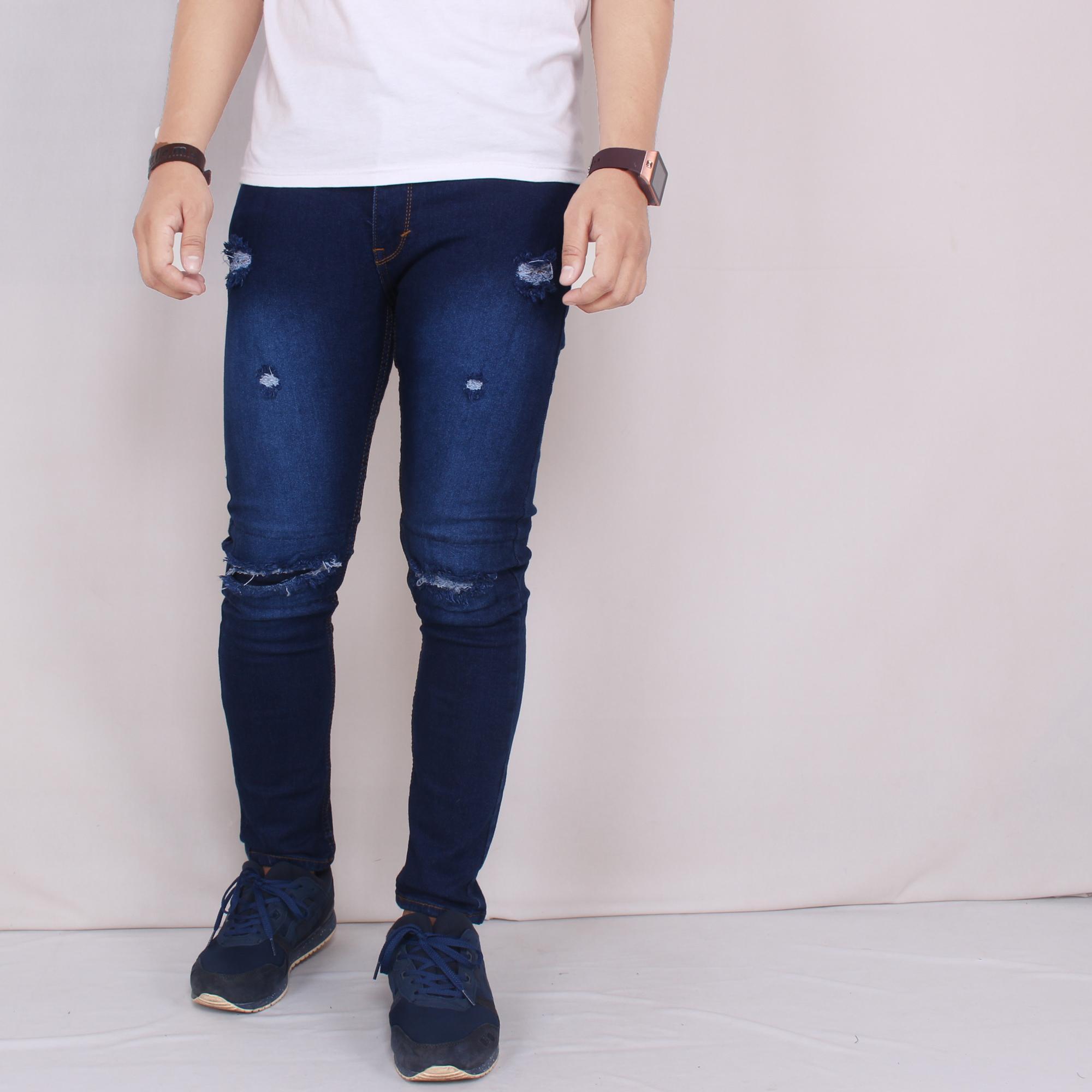 Zoeystore 5598 Celena Jeans Panjang Pria Celana Jeans Skinny Cowok Washing Bluesky Cut Rips Celana Jeans