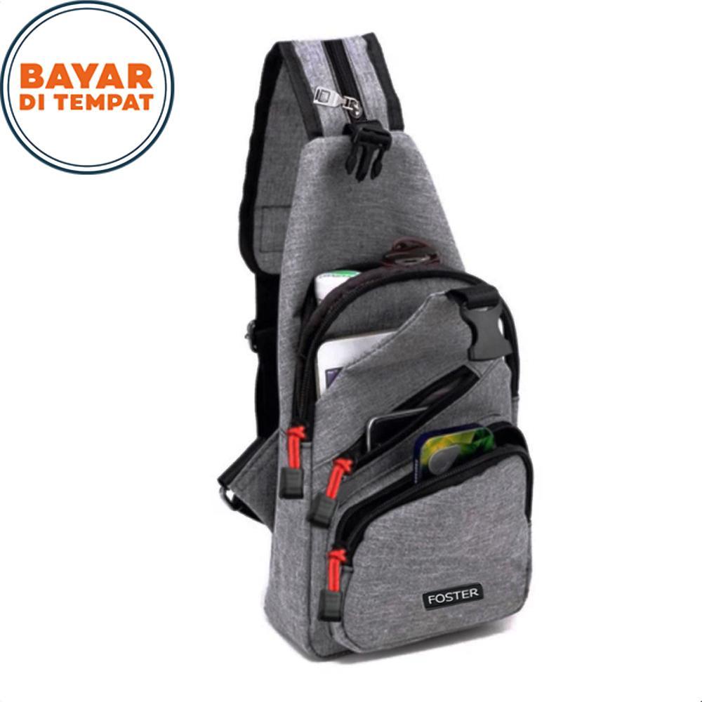 Sling Bag Foster Crossbody Bag 2in1 Tas Selempang dan Ransel 326# Tas Ransel Pria Tas Ransel Wanita Tas Laptop Multifungsi Original - Grey