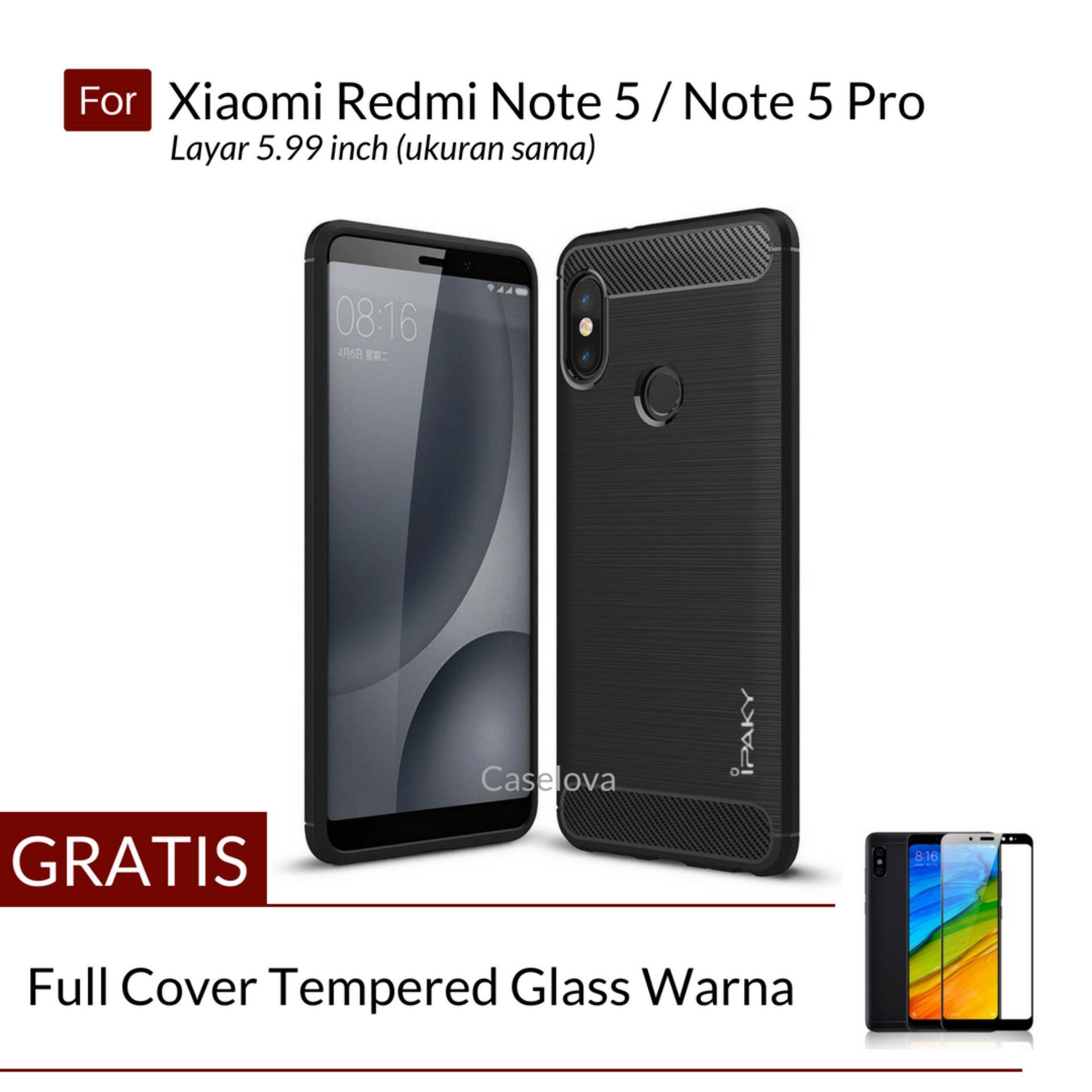 Caselova Premium Quality Carbon Shockproof Hybrid Case for Xiaomi Redmi Note 5, Redmi Note 5 Pro Layar 5.99 inch ( ukuran sama ) - Black + Gratis Full Cover Tempered Glass Warna