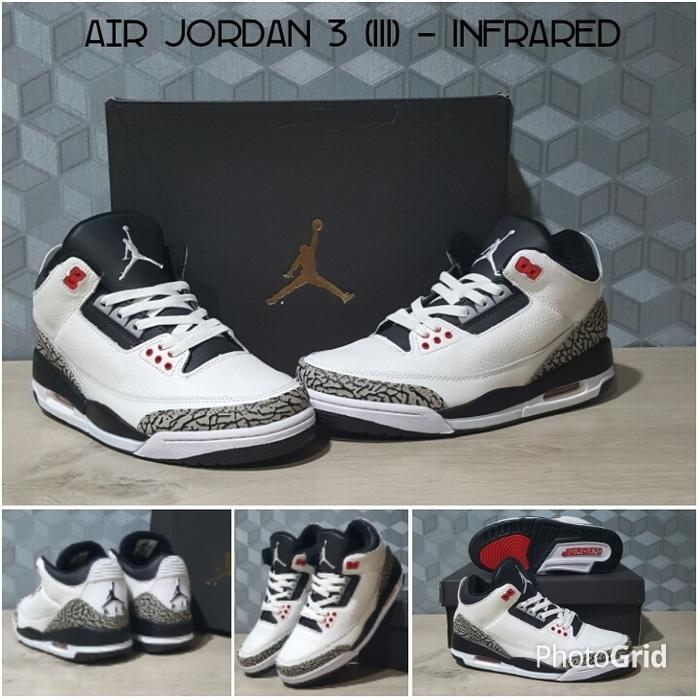 Sepatu Basket Air Jordan 3 (III) InfraRed / White /Curry/UA/Nike/Kobe