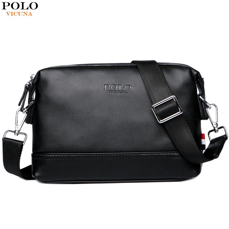 12.12 VICUNA POLO Solid Men Simple Design Crossbody Bag Travel Leather  Black Shoulder Bags Brand Small c8377c815ead6