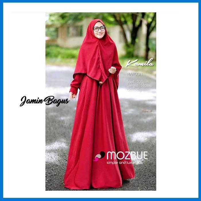 Best Seller Kamila syari red dres plus khimar Termurah Bahan Berkualitas Ukuran Free Size fit to L Elegan Untuk Pesta