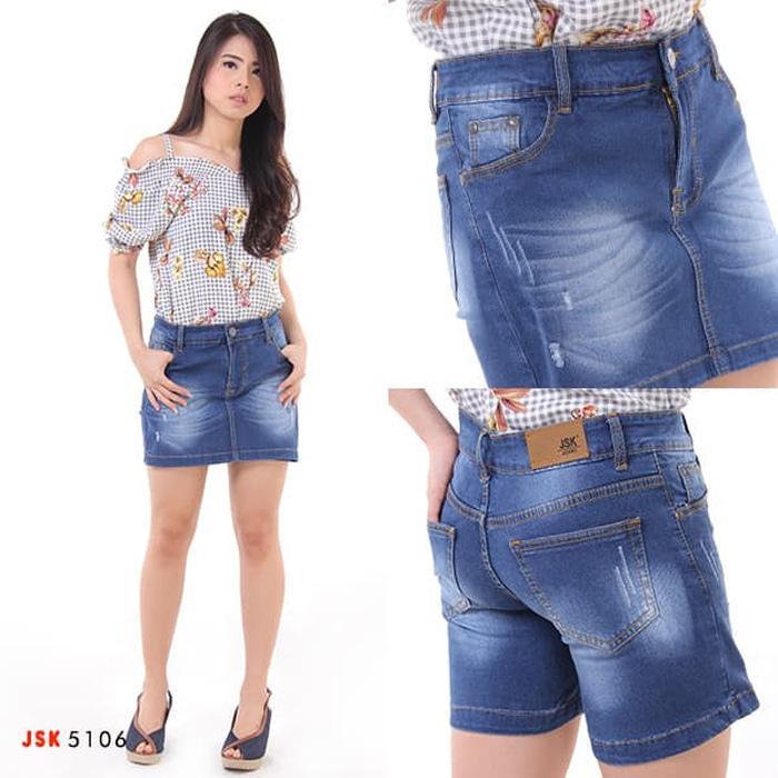 JSK 5106 - Rok Celana Pendek Bahan Jeans - Biru Jeans- 27