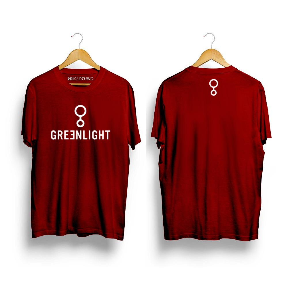 Kaos distro Greenlight Logo Premium Marun Unisex - Tshirt Greenlight Maroon Premium