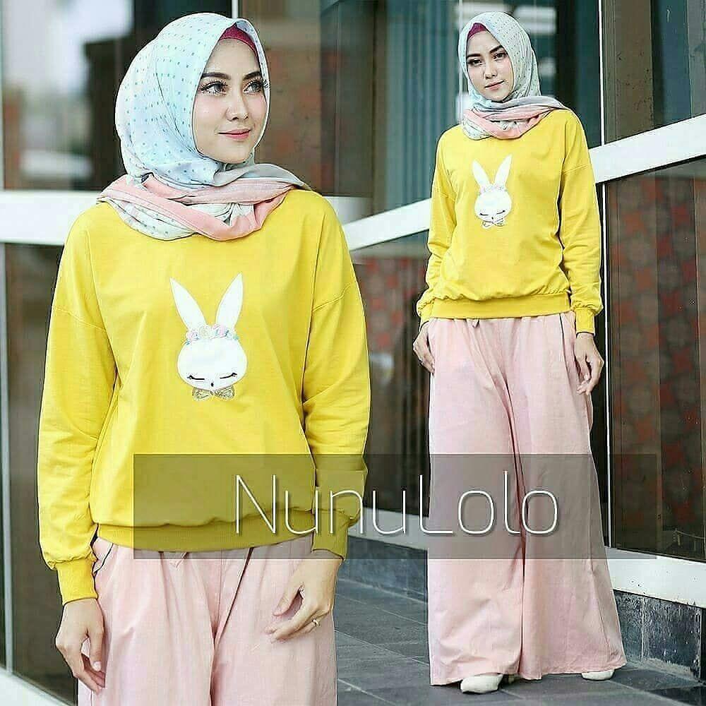 Baju Muslim Original Setelan Rabbit Set Combad Mix Baloteli Baju Wanita Hijab Trendy Celana+Baju Atasan Modern Setelan Modis Casual Trendy Terbaru