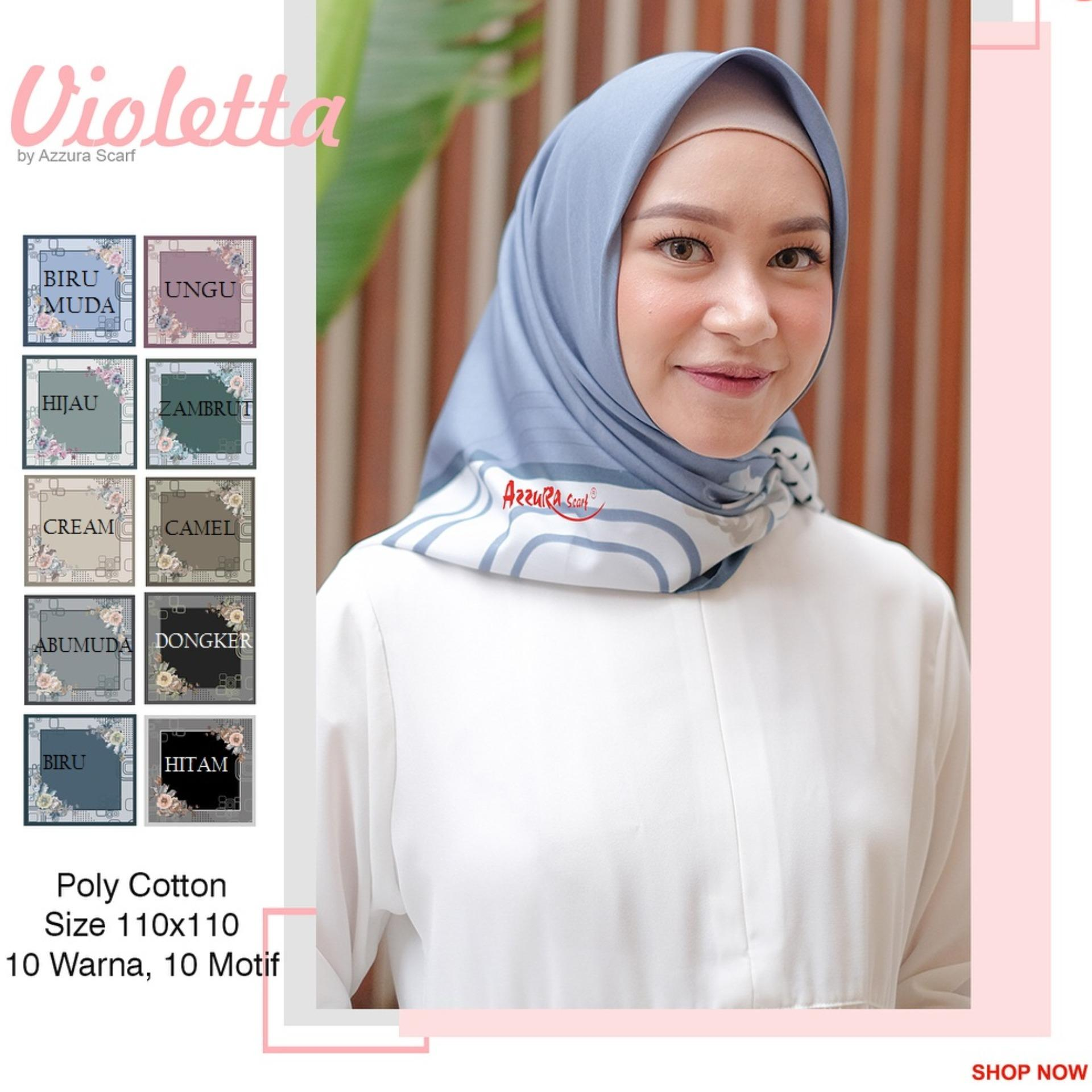 Hijab Segiempat Printing Flower Poly Cotton
