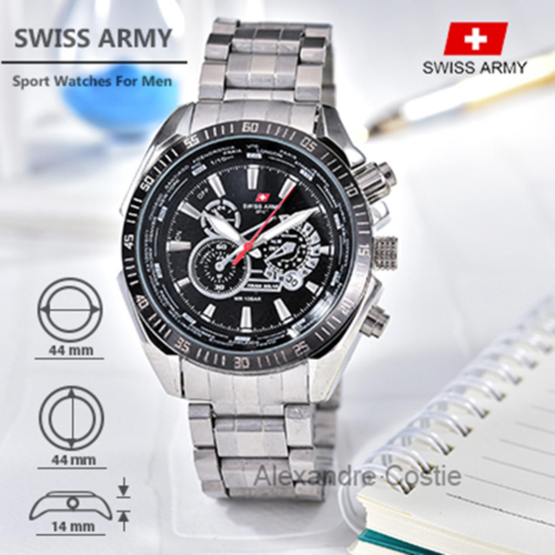 Swiss Army Sport Watches Jam Tangan Pria Stainless Steel Band SA