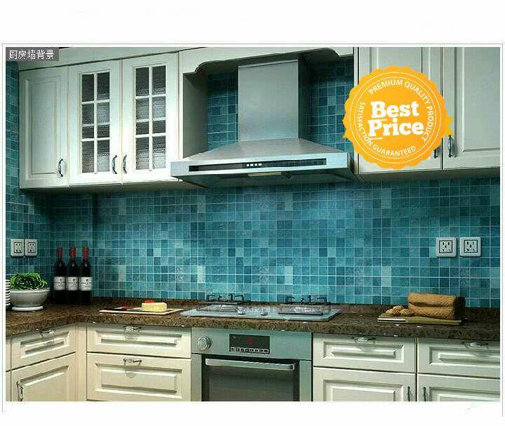 Wallpaper dinding murah rumah dapur kamar mandi biru terbagus terlaris termurah elegan minimalis cantik indah