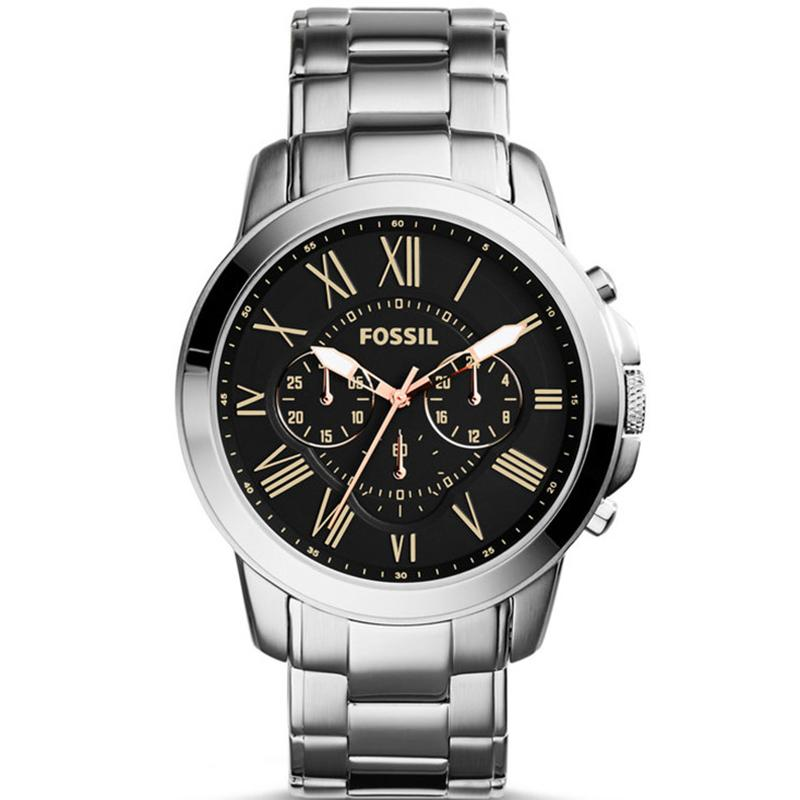 Fossil Grant Chronograph - Jam Tangan Pria - Silver - Stainless Steel - FS4994 - 88