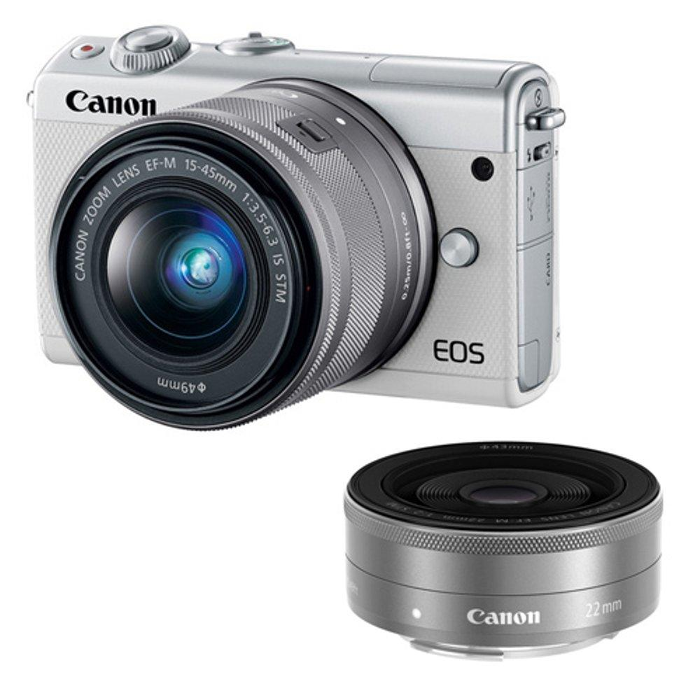 CANON EOS M100 KIT EF-M 15-45MM BUNDLING EF-M 22MM WHITE