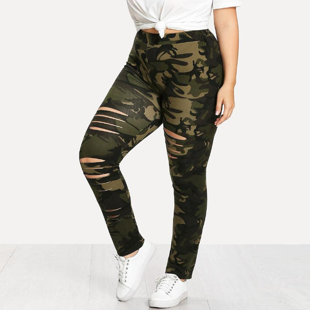 c2f852c47dbb8 GUO Fashion Plus Size Womens Camouflage Leggings Trousers Sport Hole Casual  Pants