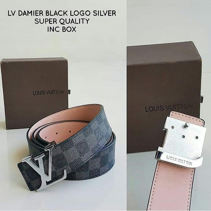 Ikat Pinggang LV Damier Black Logo Silver