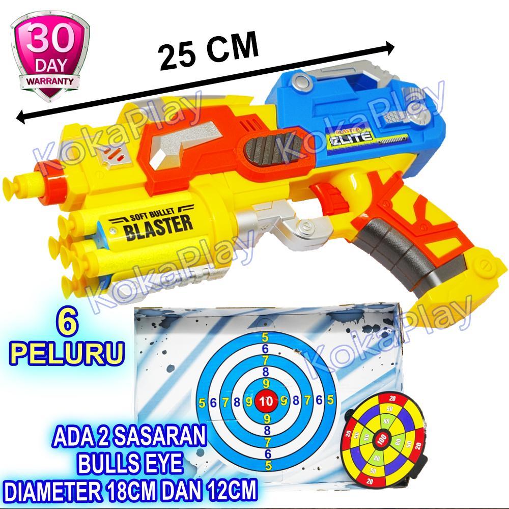 KokaPlay Super Blaster Nerf Gun Pistol Peluru Kokang Tanpa Baterai Soft Bullet Mainan Anak Laki Laki Tembak Tembakan Perang Perangan Battle