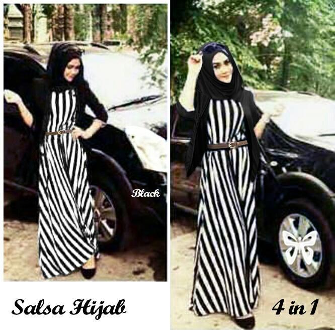Ladies Fashion Dress Gamis Muslim 4 In 1 Melina  Gamis Fashion Maxi / Syari Syar'i Simple Elegant / Terusan Baju Muslimah Wanita (lsasa) SS - Putih