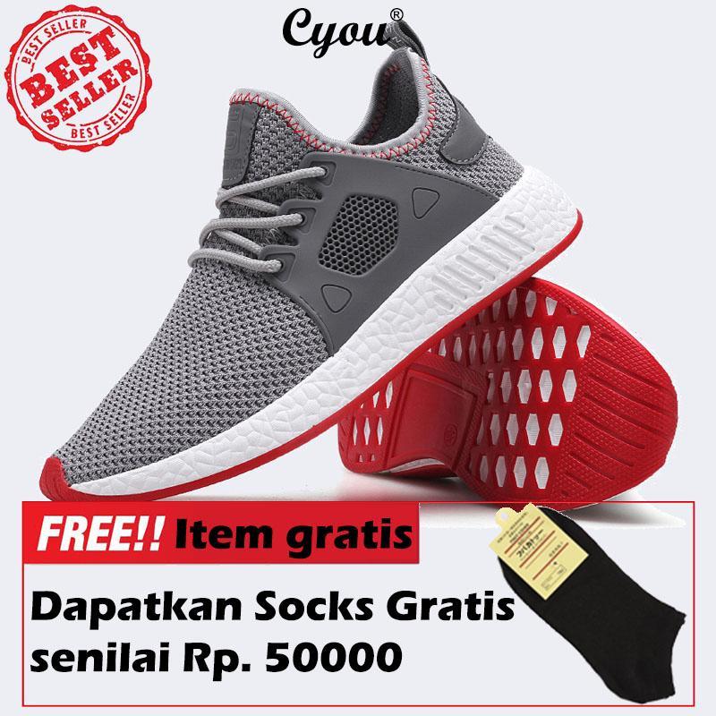 Cyou Sepatu Lari untuk Pria Sneakers Olahraga Sneaker Murah Ringan untuk Berlari Dapat Bernapas Selip-On Jaring Sepatu Kasut Modis Lelaki kasut-Internasional