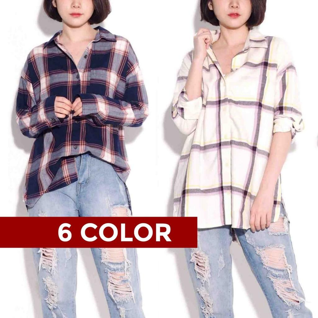 6 WARNA ON ATASAN KEMEJA BLOUSE PANJANG FLANEL BIG SIZE BAJU BRANDED JUMBO WANITA MURAH OLD NAVY PLAID PEACH S
