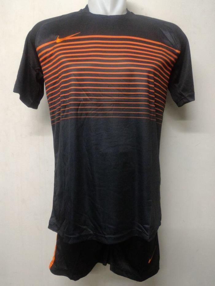 Nike Stelan Setelan Kaos Celana Futsal Sepak Bola Jersey Orange Hitam - X6bpJD