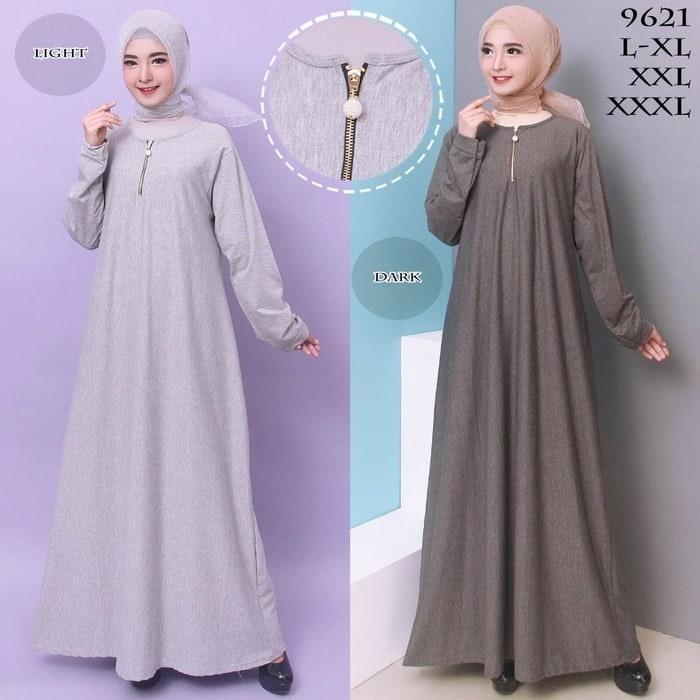 Baju Gamis Wanita Gamis Jumbo Polos L - XXXL Bahan Misty 9621-gamis masa kini