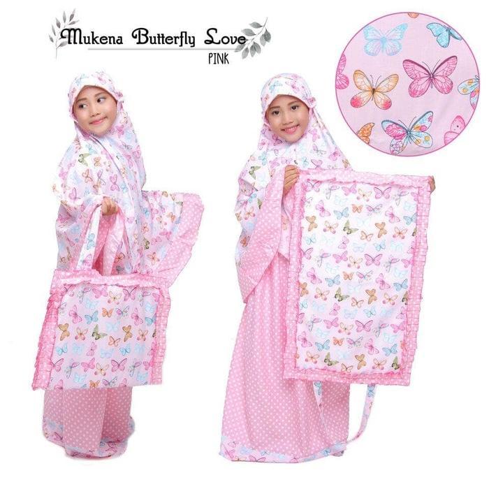 Mukena Anak Murah - Butterfly Love Pink