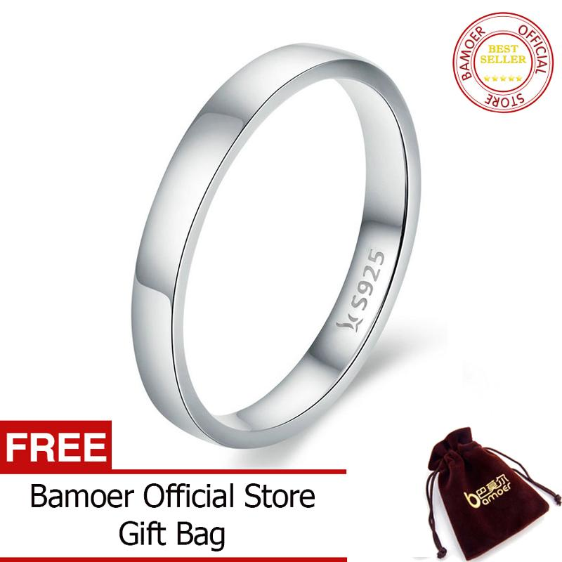 BAMOER Free Shpping High Quality 925 Sterling Silver Wedding JUNE Ring Classic Round Finger Ring Women Wedding Engagement Jewelry Gift SCR343