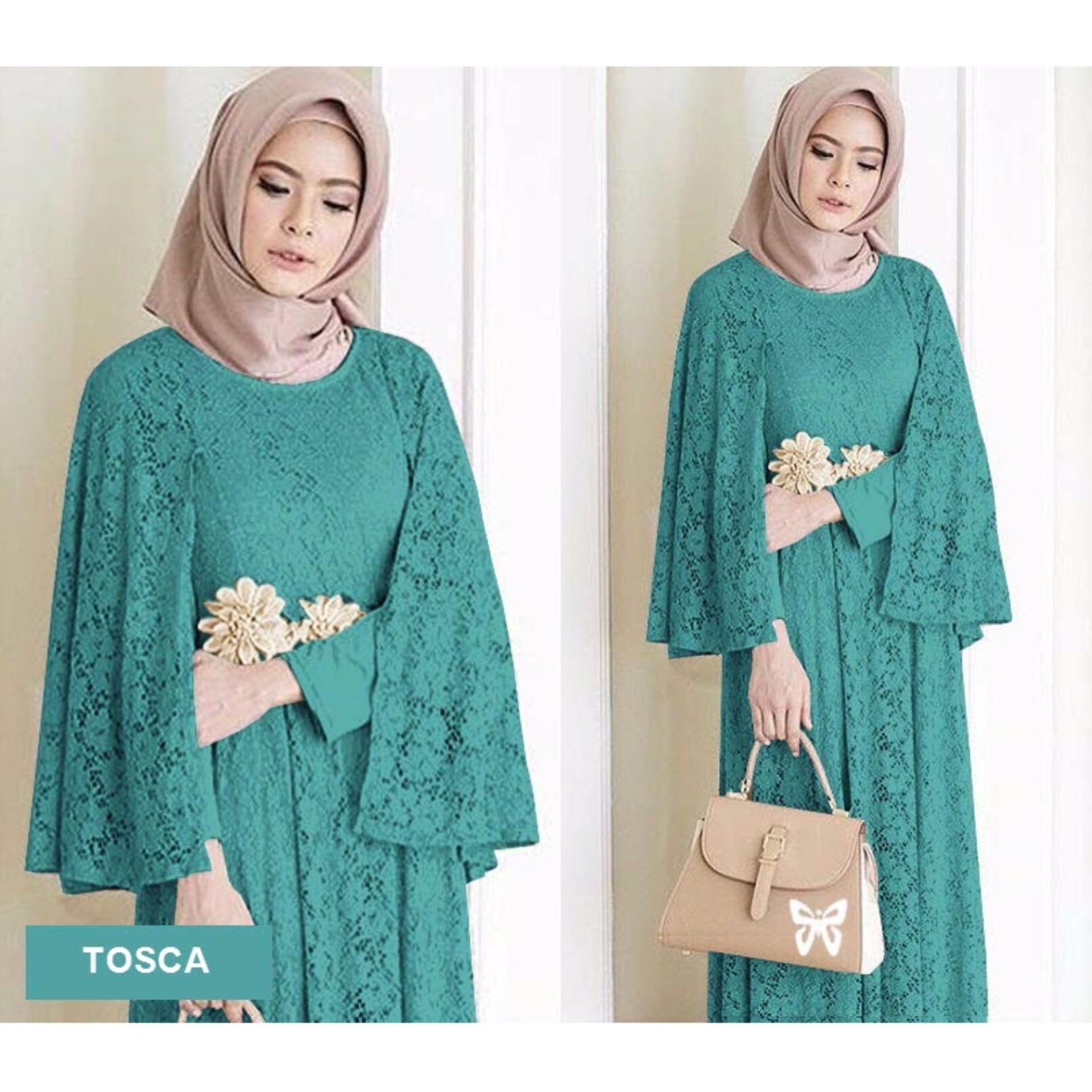 Sera Outfit Maxi Dress Lengan Panjang Brukat MSR030 / Gamis Syari / Gaun Pesta Muslimah / Baju Muslim Wanita Syar'i / Srregina