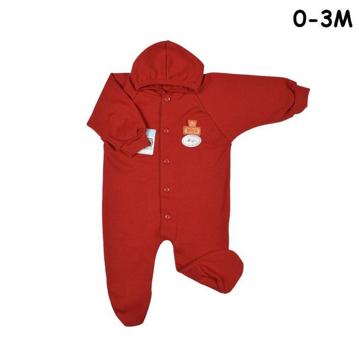MIYO Baju Kodok Panjang Topi Tutup Kaki Bayi/Baby Merah Newborn (0-3M)