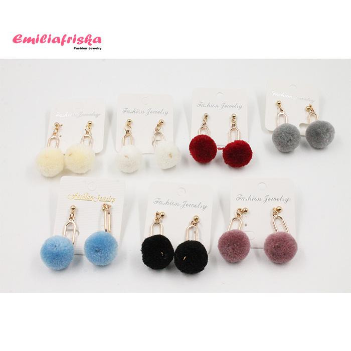 ANTING HIJAB KOREA EARRINGS POMPOM TUSUK KOREA AKSESORIS MURAH WANITA