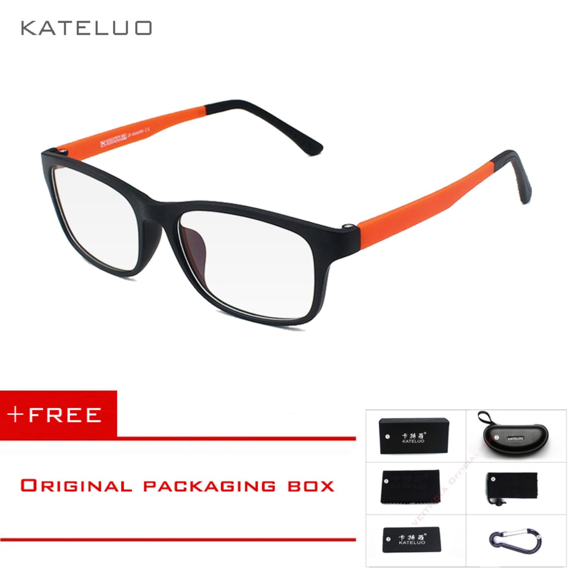 KATELUO TR90 Anti-Komputer Biru Kelelahan Laser Radiasi-tahan Kacamata Kacamata Bingkai Oculos Di Grau De 9219 (oranye) [membeli 1 Mendapatkan 1 Hadiah]