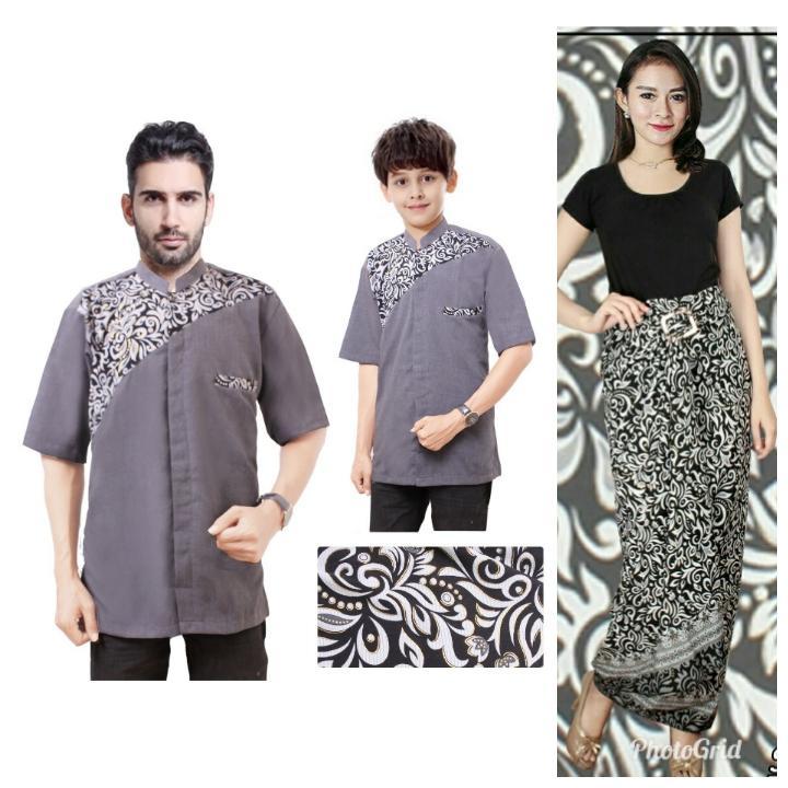 SB Collection Couple Family Nina Rok Lilit Maxi Dan Atasan Baju Muslim Koko Batik Kemeja Anak Ayah