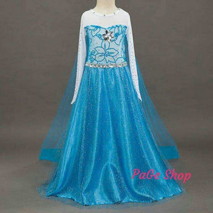 Gaun Elsa Frozen  dress baju pesta impor