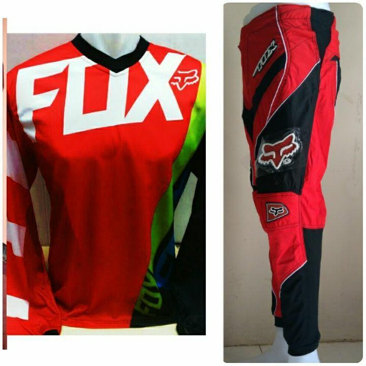 Fox Jersey Celana Setelan Sepeda Trail CRoss Promo Murah (Merah HItam)