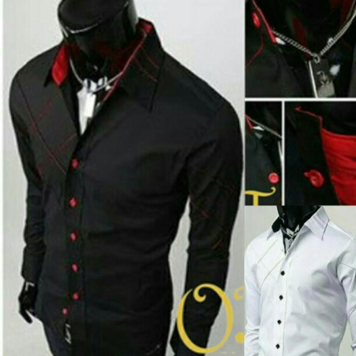 Kemeja Pria Fernando Putih Hitam Stelan Blazer Jaket Celana Kain Levis - Qydofk