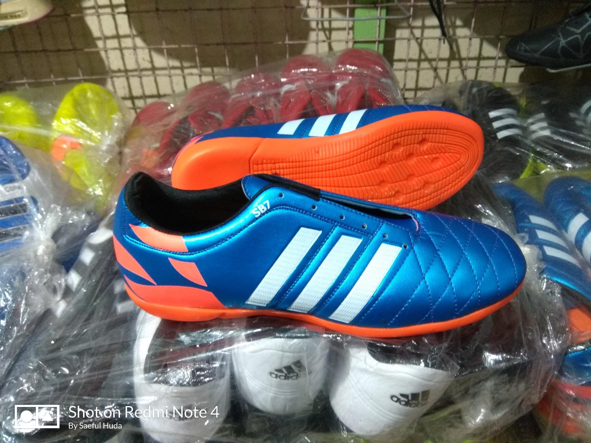 Sepatu Futsal Adidas 11 Questra Biru Orange