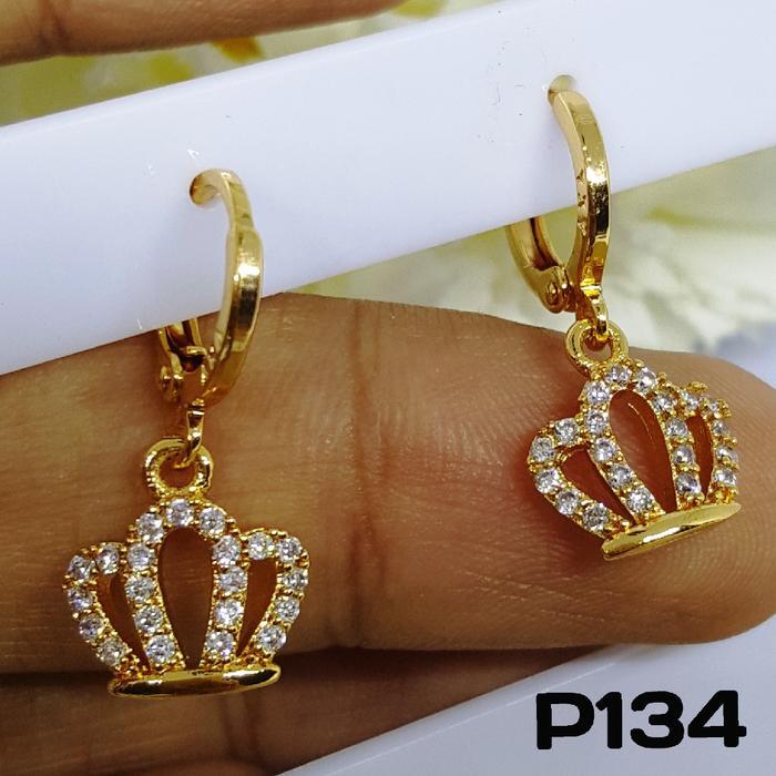P134 Anting Mahkota Berlian Cantik Perhiasan Imitasi Xuping Lapis Emas