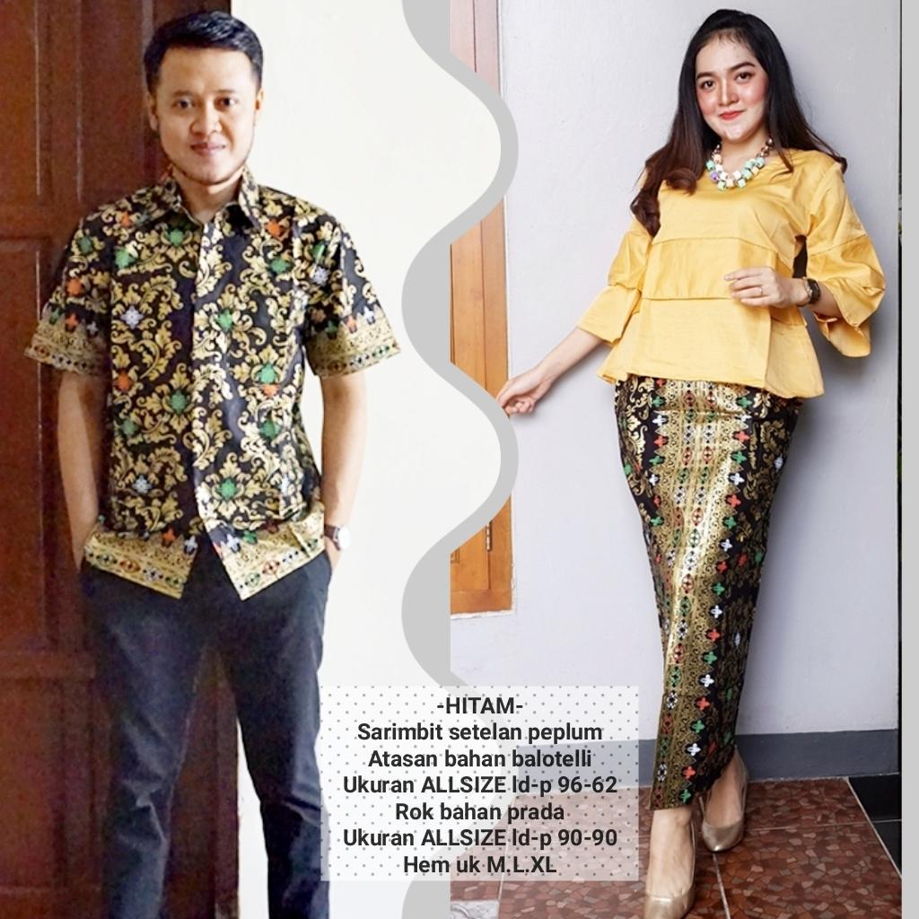 baju couple batik buat kondangan acara resepsi warna kuning BSG606
