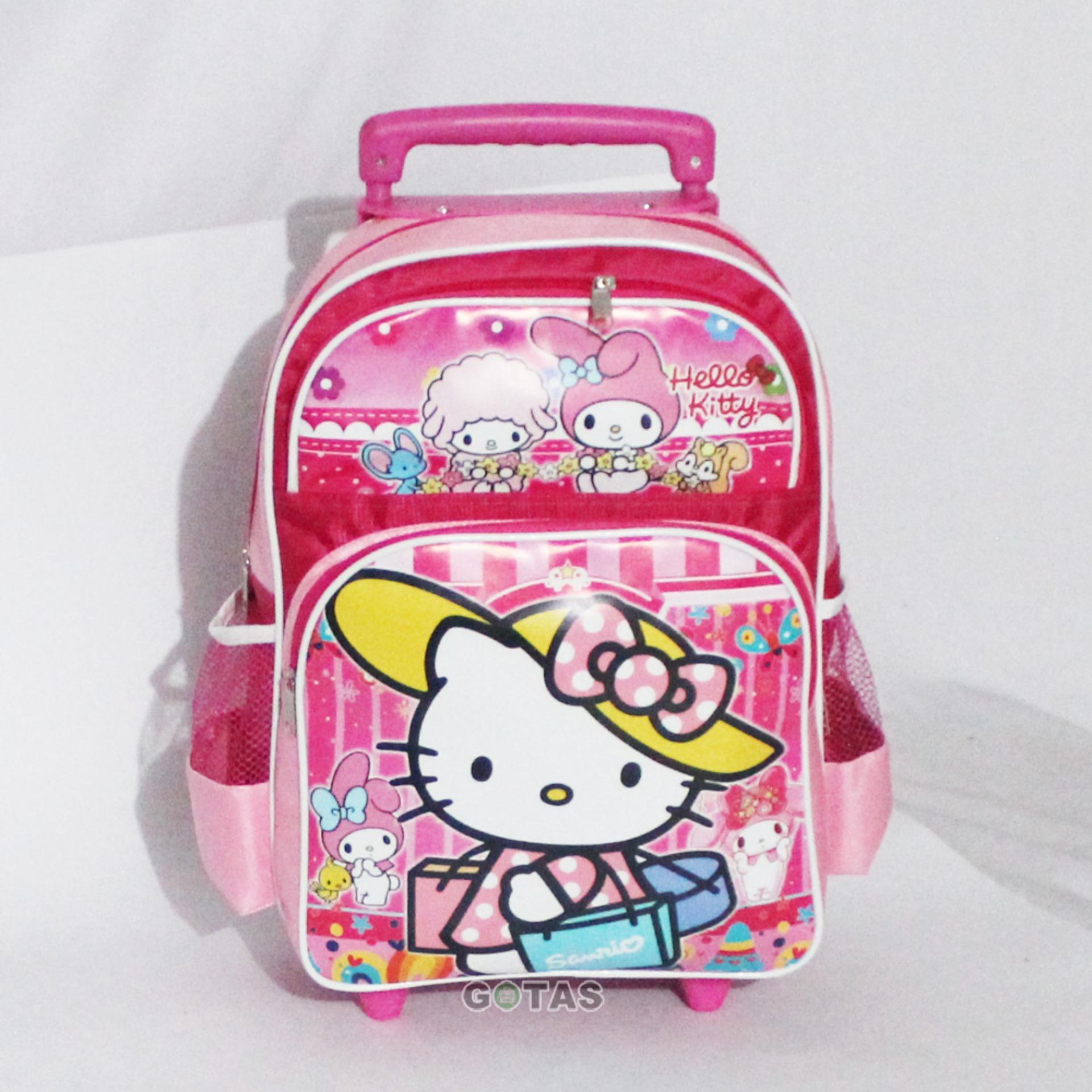 Detail Gambar Tas Troli Anak Sekolah TK SD1 Karakter Hello Kitty Pink LT1202 Terbaru