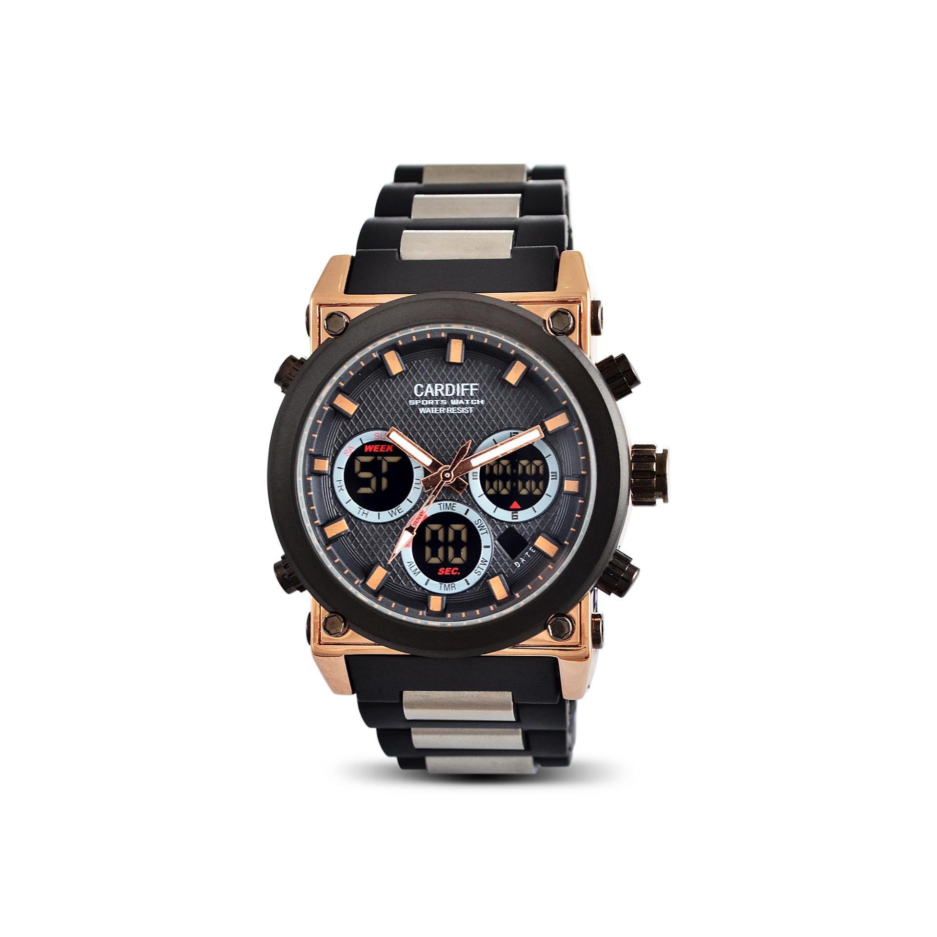 JAM TANGAN ORIGINAL CARDIFF  DT 8140 PU - BLACK GOLD ANTI AIR BERGARANSI 1 TAHUN