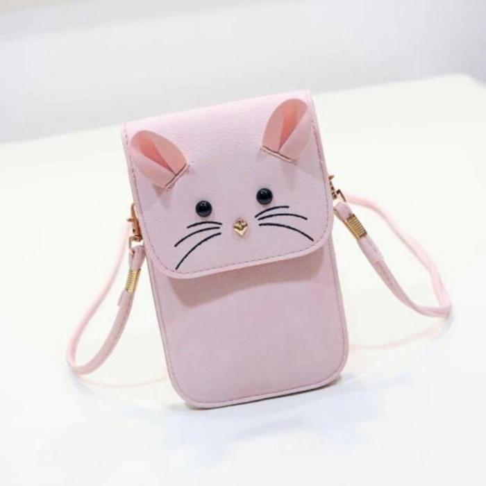 Rafishashoes-Tas Pocket Hp/ Tas Dompet Hp/ Tas Selempang Mouse-[Pink]