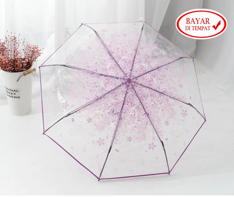 Payung Lipat Transparan Bening Umbrella Fashionable Sakura Stylish Korea