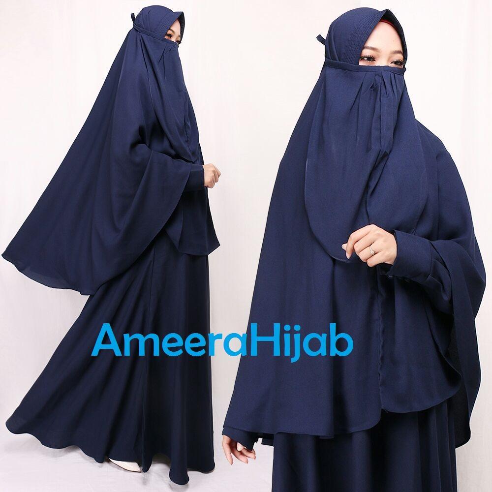 AmeeraHijab_ Gamis Wanita Syari Cadar/ Pakaian Muslim/ Busui / Dress Muslimah / Hijab Wolly Crepe