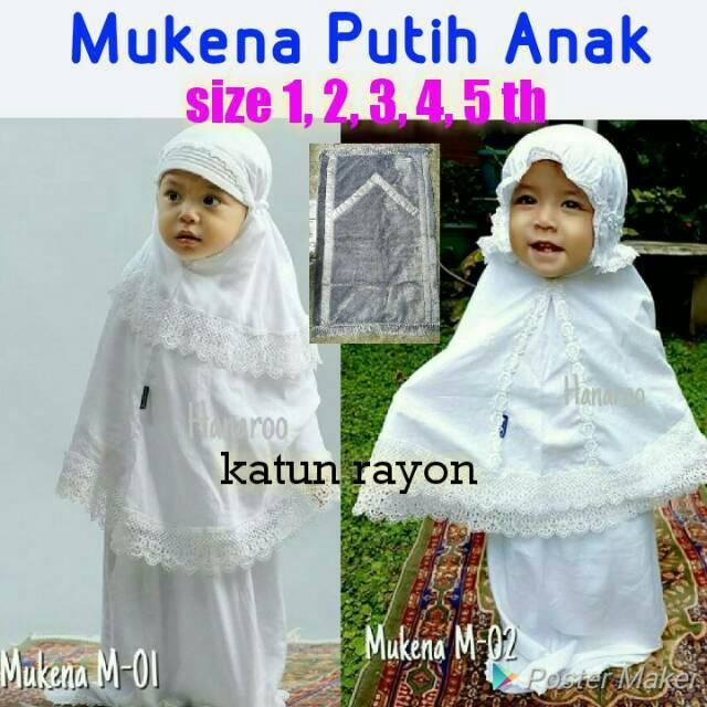 Mukena Putih Balita Anak 1-5 th Sajadah Bulu Katun Rayon Adem M-01 size 1th