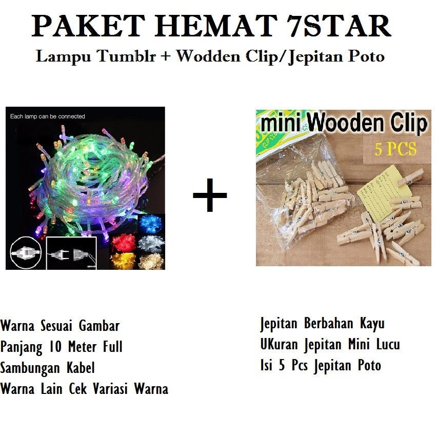 Paket Hemar Lampu Tumblr Murah 10 Meter FULL 7STAR Dengan Colokan Sambungan - Tumblr Lamp ELT N-1031 7STAR + GRATIS Wooden Clip/Jepitan Foto 5 Pcs