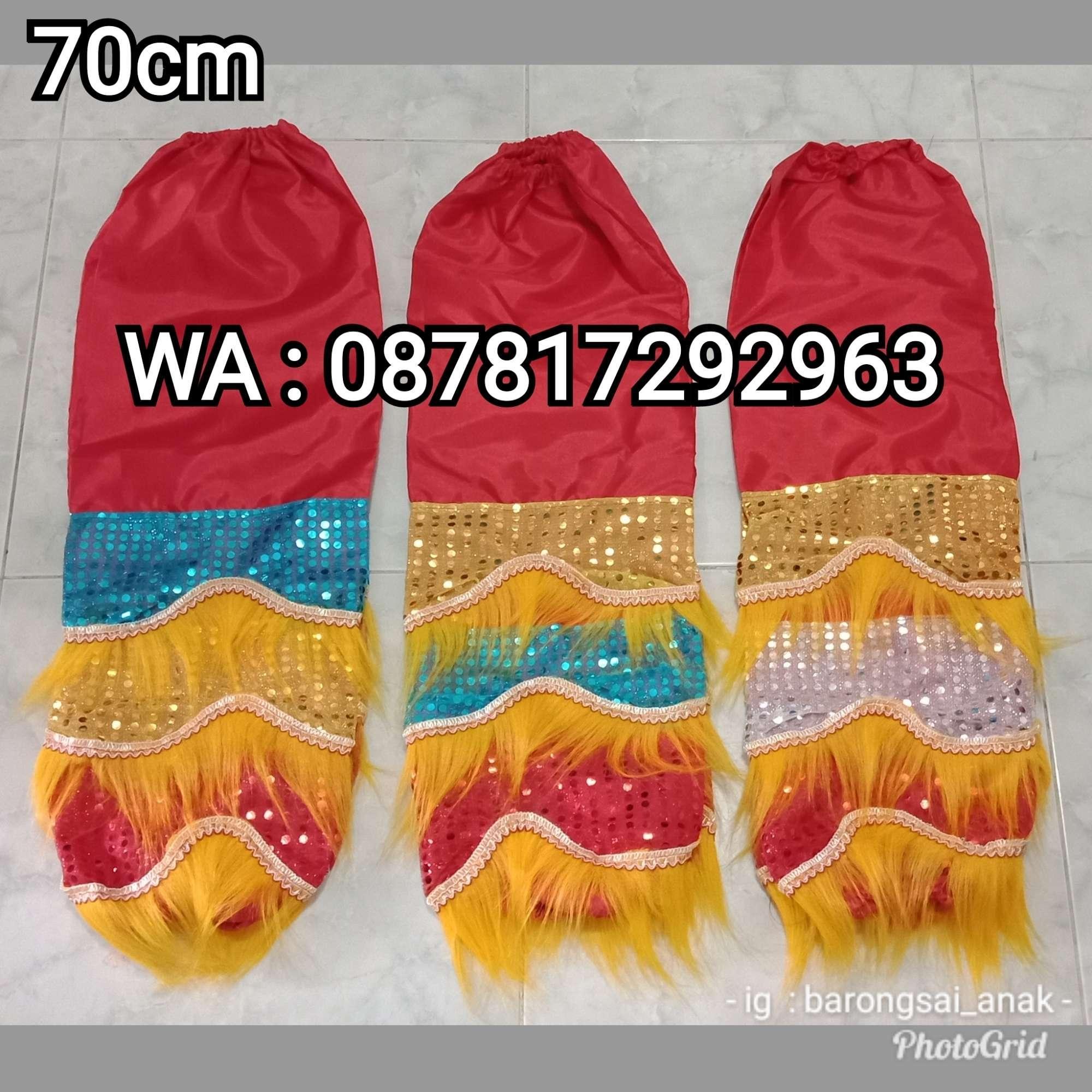 Celana Barongsai Anak bulu Kuning panjang 70cm