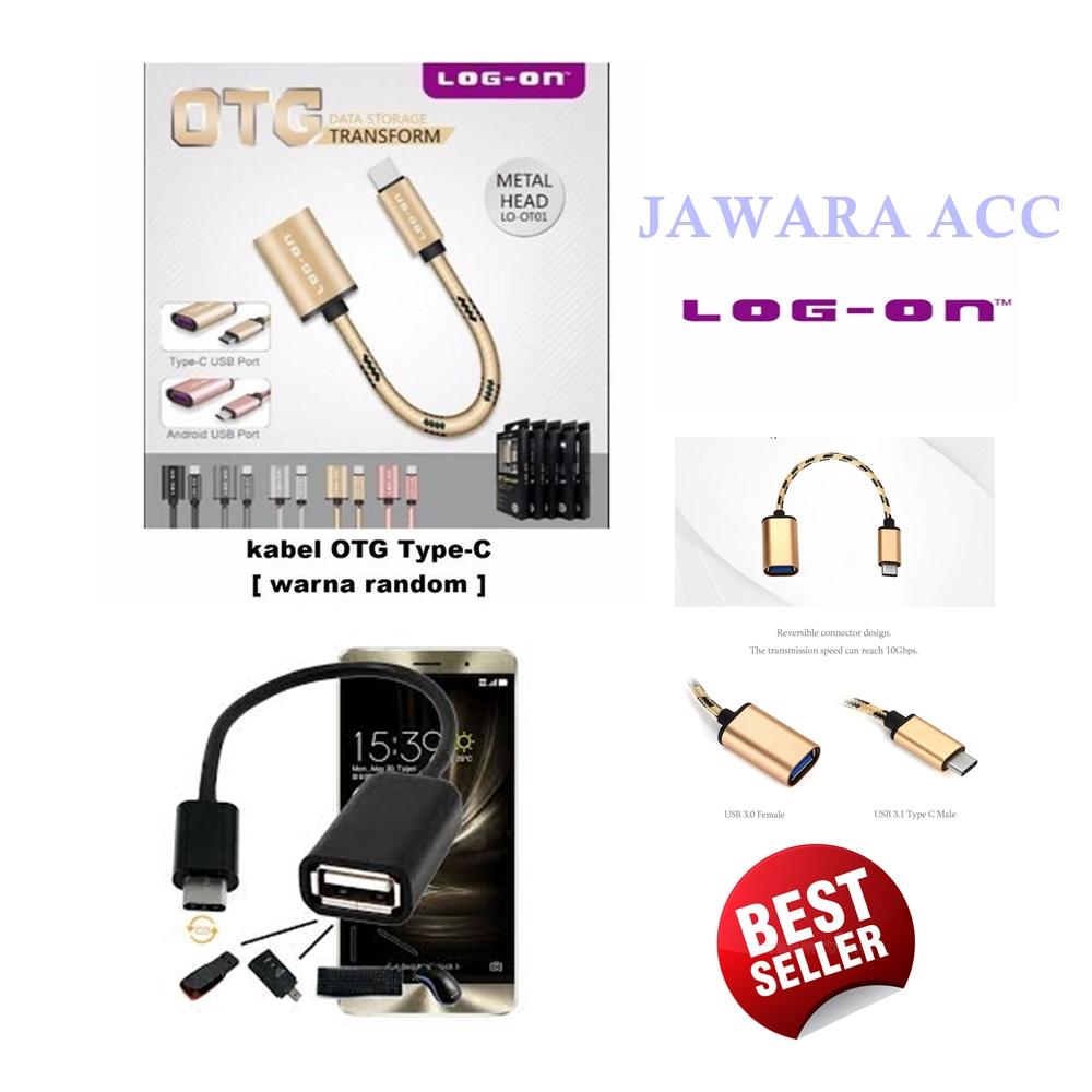 Log On Kabel OTG Type-C Warna Random + Bonus Kabel OTG Micro Usb Type