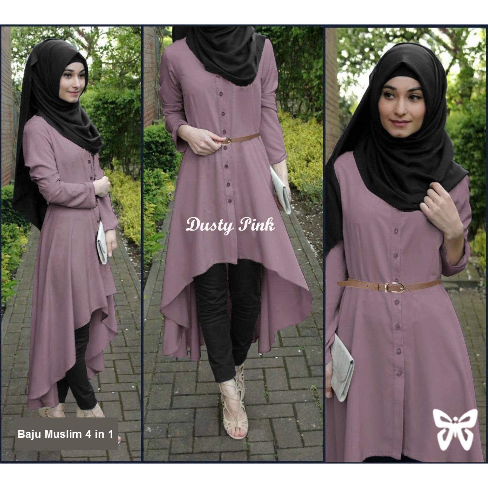 Flavia Store Baju Muslim Wanita Set 4 in 1 FS0694 - DUSTY PINK / Setelan Muslimah / Stelan Gamis / Hijab / Atasan Blouse Terusan Kemeja Tunik Lengan Panjang Bawahan Celana / Srsafira